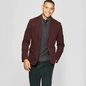 Goodfellow & Co Washed Twill Blazer- Burgundy